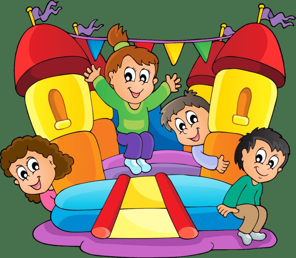 10 Gründe um eine Hüpfburg für deine Kinderparty zu mieten, Kinder spielen auf einer Hüpfburg